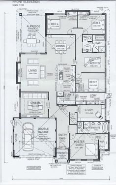 Floor Plan Friday: 4 bedrooms, study, activity and a cinema room I stumble across floor plans all the time then save them to share with you down the track. I wondered what you might all this. Floor Plan 4 Bedroom, 4 Bedroom House Plans, New House Plans, Dream House Plans, House Floor Plans, Kitchen Floor Plans, The Plan, How To Plan, Home Design Floor Plans