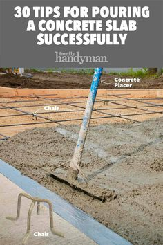 30 Tips For Pouring a Concrete Slab Successfully Building a shed this spring? Before you can even think about raising the walls, it's imperative to have a solid foundation. Learn how to pour a concrete slab successfully here. Pouring Concrete Slab, How To Lay Concrete, Poured Concrete Patio, Concrete Footings, Concrete Garages, Concrete Porch, Concrete Bricks, Concrete Projects, Stained Concrete