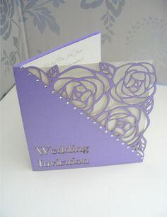 Tulip Laser Cut Single Fold Wedding Invitation - Lilac - Information inside card, RSVP card smaller inside