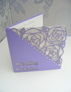 Tulip Laser Cut Single Fold Wedding Invitation - Lilac - Information inside card, RSVP card smaller inside