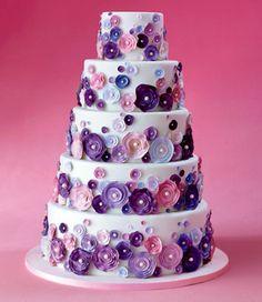 A Fun Wedding cake design! Purple Cakes, Purple Wedding Cakes, Unique Wedding Cakes, Beautiful Wedding Cakes, Gorgeous Cakes, Pretty Cakes, Cute Cakes, Amazing Cakes, Cake Wedding
