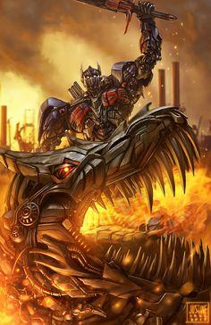Optimus Prime and Grimlock fan art by  Ronn Justine Cruz