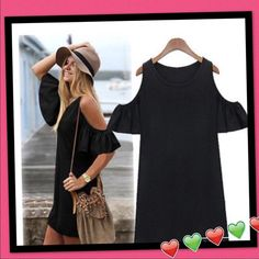 Cut out off shoulder Boho mini dress Black tunic dress.. My favorite!! size up for more comfortable fit.. Price firm.. Dresses Mini