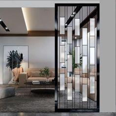"""ابتكارات منزلية on Twitter: """"فواصل جدارية ✨… """" Glass Partition Designs, Glass Wall Design, Glass Partition Wall, Living Room Partition Design, Living Room Divider, Partition Screen, Home Stairs Design, Home Room Design, Living Room Designs"""
