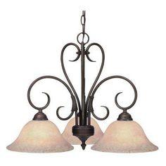 Delgado Collection 3-Light Rubbed Bronze Semi-Flush Mount Light
