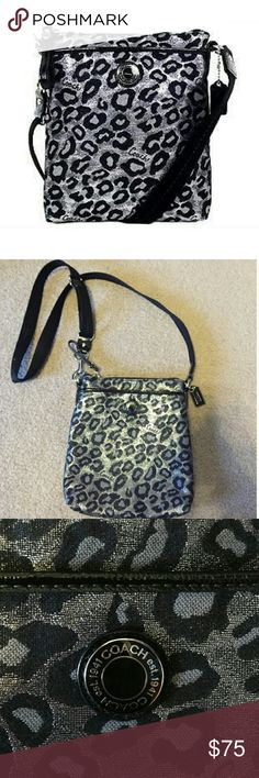 NEW! Silver Coach Crossbody Bag BRAND NEW - NEVER BEEN USED - PERFECT CONDITION. Silver cheetah small Coach cross body bag! Black adjustable strap - Coach logo on front. One pocket in front - zipper closure - one pocket inside - one pocket on back. ****Please Note: I'm an impulse shopper so I took the tags off as soon as I bought it and brought it home - has not seen the light of day!**** NO TRADES. Coach Bags Crossbody Bags