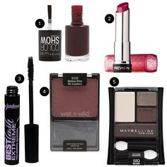 5 Fall Favorites on a Budget: Maybelline Color Show polish in Dressed To Kill, Revlon Lip Butter in Raspberry Pie, Jordana Best Lash Extreme Mascara, Wet 'N Wild Blush in Mellow Wine, Maybelline Eye Shadow Quad in Natural Smokes