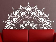 Mandala Wall Decal sticker half mandalaYoga Om Namaste Yoga decor Wall Decal lotus Interior Home Decor meditation mandala wall art wall, , Rangoli Borders, Rangoli Border Designs, Rangoli Designs Images, Mandala Mural, Mandala Stencils, Mandala On Wall, Free Hand Rangoli Design, Small Rangoli Design, Wall Painting Decor