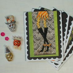 Halloween Party Invitations / Halloween Cards Set / Witchy Legs / Cute Halloween Cards by HotWheelsandGlueGuns