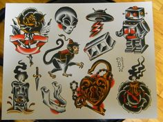 Neo-Traditional Tattoo Flash Sheet by DerekBWard on Etsy