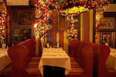 As Christmas approaches, many business are in the holiday spirit—and then there's Rolf's German Restaurant. Open On Christmas, Nyc Restaurants, Decks, Festive, German, Christmas Decorations, Spaces, Chair, Furniture