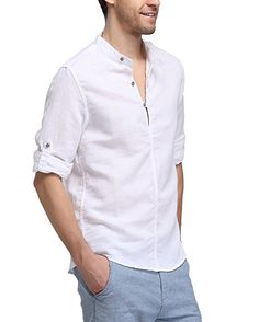 BYLUNTA Body Fit Men's Linen Long Sleeve Collarless Shirt (US XS(Asian-M)) Funky Shirts, Plain Shirts, Casual Shirts, Outfit Grid, Gentleman Style, Printed Shirts, Shirt Style, Men Dress, Shirt Designs
