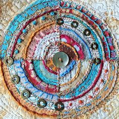 Original framed textile art: embroidered and embellished t Textile Fiber Art, Textile Artists, Fabric Art, Fabric Crafts, Embroidery Stitches, Machine Embroidery, Circle Quilts, Creative Textiles, Fabric Journals