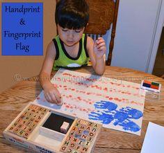 Handprint & Fingerprint Flag ..... Proud to be an American craft - Fun Handprint Art