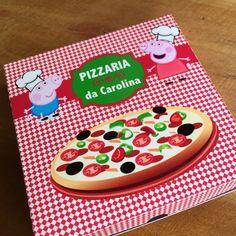 Convite caixa de pizza Festa Pizzaria da Peppa e George | Design Festeiro