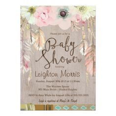Boho Chic Pastel Floral Flowers Feathers BABY SHOWER Invites Announcements…