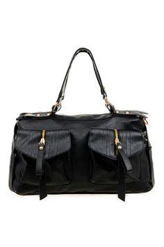 ROMWE | Multi-pockets Black Bag