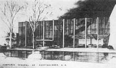 Dibujo de la fachada principal, Edificio de oficinas por Compañía General de Acepataciones, S.A., Paseo de la Reforma esq. av.. Juárez, Centro, Cuauhtémoc, Ciudad de México 1968 (destruido)  Arq. Jorge González Reyna -   Drawing of the main facade, Office building for Compania General de Acepataciones, S.A., Paseo de la Reforma at av. Juarez, Centro, Cuauhtemoc, Mexico City 1968 (destroyed)