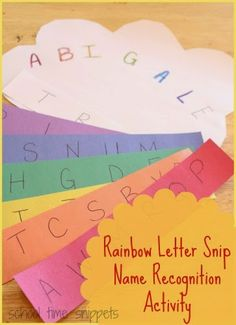 Colorful Name Recognition and Fine Motor Skills Activity.  Find the letter in name and practice snipping with scissors!