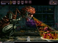 "Samus Aran in fight with 1994's ""Super Metroid""s endboss Mother Brain"
