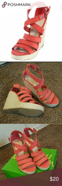 Sam & Libby women's banquet coral wedges! NWB! A triple strap design over the toes combines with a buckled,crossing strap around the ankle to bring a bold look!! Sam & Libby Shoes Wedges
