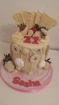White chocolate drip cake Chocolate Drip Cake, White Chocolate, Drip Cakes, Desserts, Food, Tailgate Desserts, Deserts, Essen, Dessert