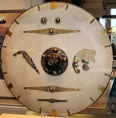 Early medieval Anglo-Saxon shield recovered from Sutton Hoo and reconstructed for display.