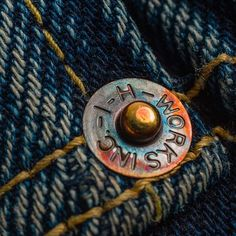 """selvedge-socks-shoes: """" """"I-H rivets after exposure to the elements. No photoshop or filters here! Jeans Button, Red Button, Denim Branding, No Photoshop, Vintage Bags, Hang Tags, Sock Shoes, Brand You, Simple Designs"""