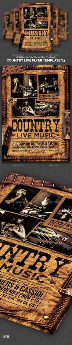 Country Live Flyer Template V3 by lou606 1 Photoshop psd file, 1 Help file. A4 size (21×29.7 cm) or (8.3×11.7 inch) with bleed (21.6×30.3 cm) or (8.5×11.9 inch). Print Rea