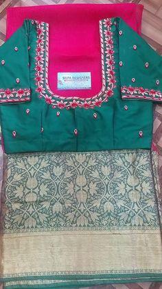 Designer Clothing, Designer Dresses, Banarsi Saree, Computer Works, Saree Blouse Neck Designs, Maggam Works, Thread Work, Saree Dress, Work Blouse