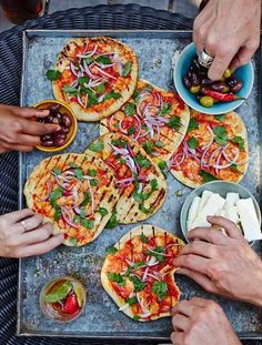 Tomato and red onion flatbreads - vegetarian BBQ food just got better