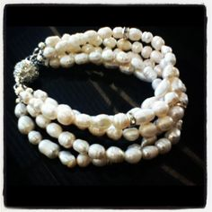 Loretta wedding bracelet | made with freshwater pearls and swarovski crystal rondelles