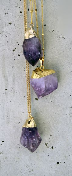 raw gold dipped stones - amethyst