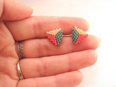 Bead Jewellery, Beaded Jewelry, Handmade Jewelry, Seed Bead Earrings, Beaded Earrings, Stud Earrings, Bead Embroidery Jewelry, Beaded Embroidery, Beading Tutorials
