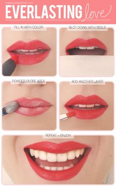 """How to make your lipstick last. These steps ensure that your color is """"everlasting."""" #prom #makeup Xo, Samantha"""