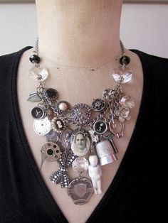 Steampunk#Vintage Necklace#Statement Necklace#bib necklace