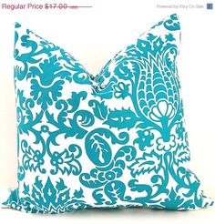 SALE Turquoise Pillow Cover Turquoise Cushion by FestiveHomeDecor