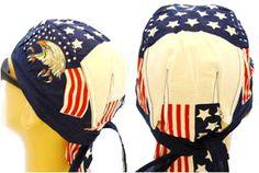 American Flag Patriotic Headwrap Doo Rag Bald Eagle Durag Skull Cap Cotton Sporty Motorcycle Hat