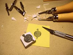 handmade rubber stamp.. yarn