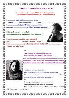 Adele - Someone like you worksheet - Free ESL printable worksheets made by teachers English Resources, English Activities, Music Activities, Teaching Activities, English Lessons, Learn English, English Games, Simple Past Verbs, Simple Past Tense