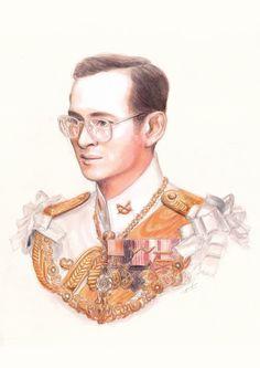 King Phumipol, King Rama 9, King Art, King Of Kings, King Queen, King Bhumibol Drawing, Water Sketch, King Thailand, King Painting