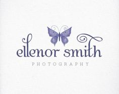Photography Logo, Butterfly in Purple - Custom Premade Logo Design For Photography Branding