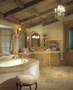 Wonderful Classic Bathroom Style with Luxury Bathtub and Pendant Lamp