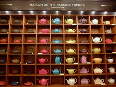 A beautiful selection of teapots to purchase at the famed Paris teahouse Mariage Frères.   ᘡղbᘠ