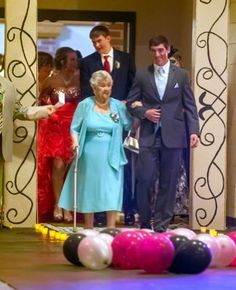 "My Hero of the week: ""I respect my elders greatly,"" Austin Dennison. 19 year old HS Senior takes Great Granny to prom! Loving the respect this young man has for his Great Granny!"