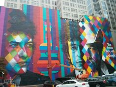 The new Bob Dylan mural in downtown Minneapolis