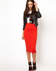 Glamorous Pencil Skirt In Textured Jersey on shopstyle.com