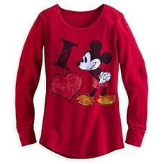 15$ Disney Mickey Mouse Long Sleeve Red Thermal Tee for Women   Disney Store