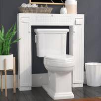 Latitude Run® Jordane 34'' W x 38.5'' H x 7'' D Over-The-Toilet Storage & Reviews | Wayfair Toilet Shelves, Bathroom Shelves Over Toilet, Small Bathroom Storage, Laundry Room Storage, Wood Bathroom, Bathroom Cabinets, Bathroom Furniture, Over Toilet Storage, Toilet Room