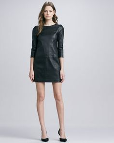 VINCE relaxed 3/4-sleeve leather minidress A/W 13 by www.giulialoves.com
